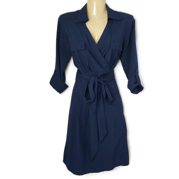 41 Hawthorn Dresses & Skirts - 41 Hawthorne Blue Collared Wrap Dress